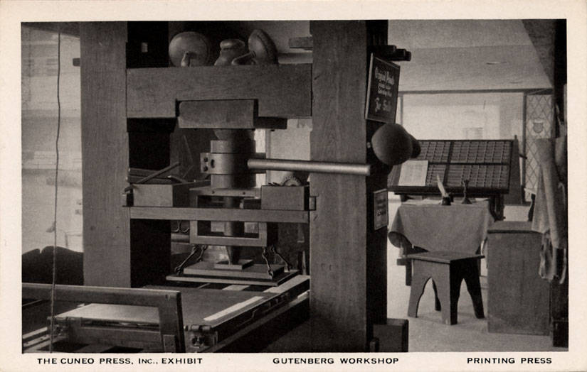 An image of the printing press in the Gutenberg Workshop, curtsy of Cuneo Press. Inc Exhibit.