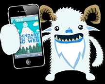 A yeti holding a smartphone