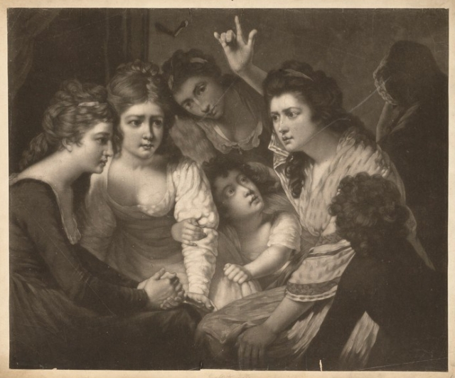 A lady telling a gripping story to young women and children. Mezzotint by V. Green, 1785, after J. Opie. Credit: Wellcome Collection, CC BY