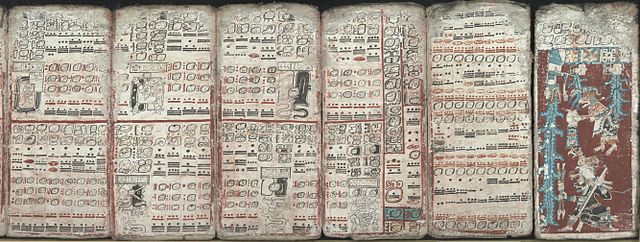 Six sheets of the Dresden Codex (pp. 55-59, 74) depicting eclipses, multiplication tables and the flood. Auther is unknown, This work is in the US public domain.